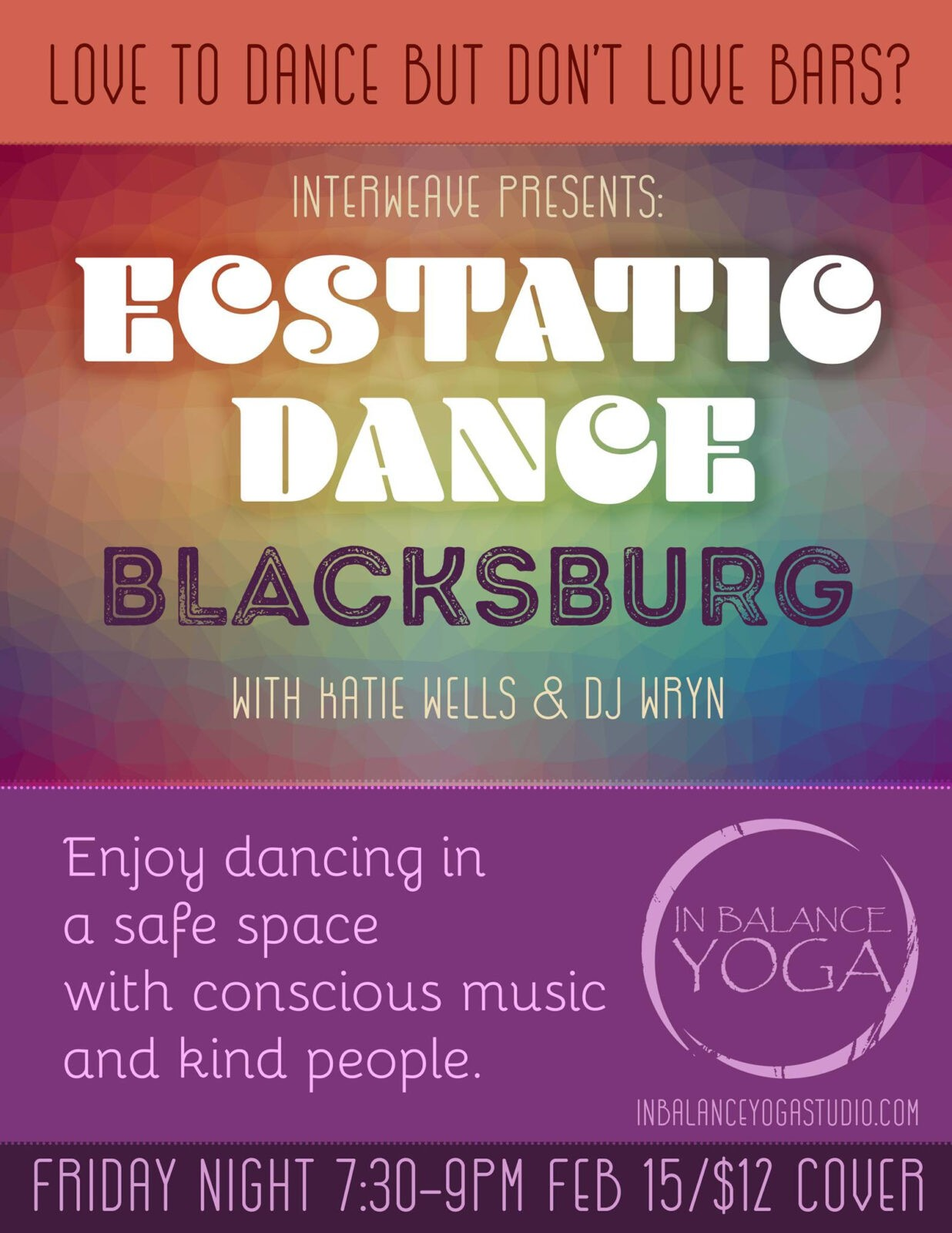 Ecstatic Dance @ In Balance Yoga, Blacksburg